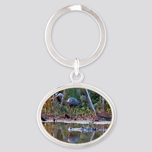 Great Blue Heron and Gator Oval Keychain