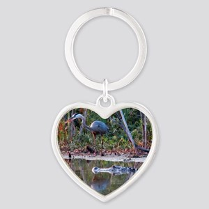 Great Blue Heron and Gator Heart Keychain