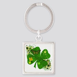 Irish Clover Art Abstract Square Keychain
