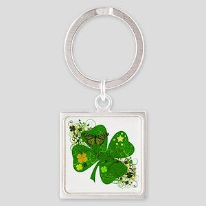 Irish Clover Art Abstract Square Keychain
