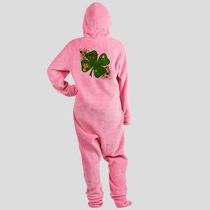 Irish Clover Art Abstract Footed Pajamas