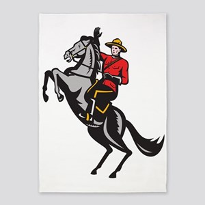 Canadian Mounted Police Mountie Rid 5'x7'Area Rug