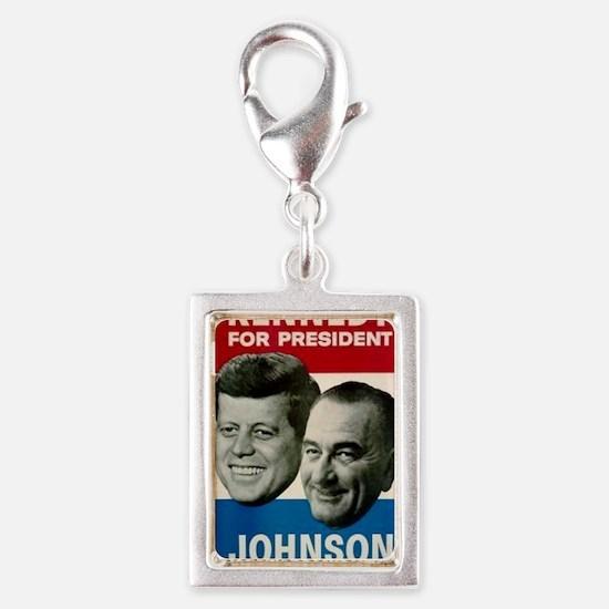 ART JFK and LBJ 60 Silver Portrait Charm