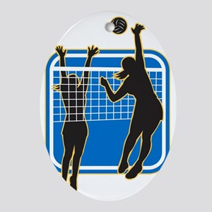 Volleyball Player Spiking Blocking B Oval Ornament