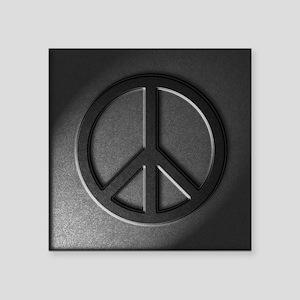"Peace Sign Stone Texture Square Sticker 3"" x 3"""