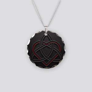 Celtic Knotwork Leather Vale Necklace Circle Charm