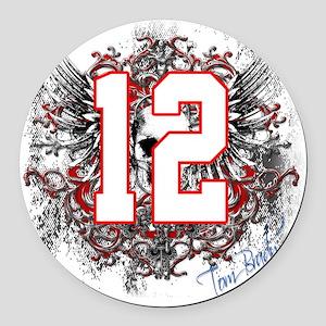 Tom Brady Grunge Skull Round Car Magnet