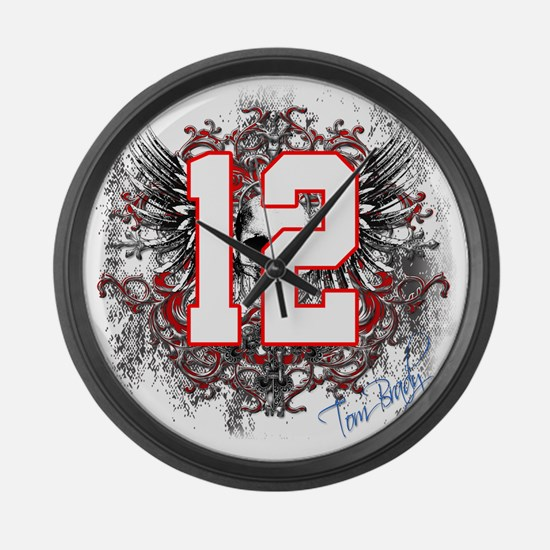 Tom Brady Grunge Skull Large Wall Clock