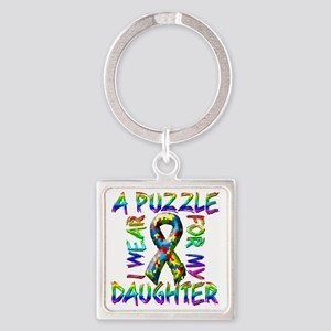 I Wear A Puzzle for my Daughter Square Keychain