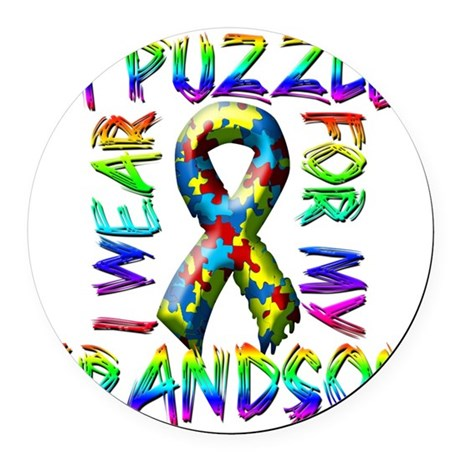 I Wear A Puzzle for my Grandson Round Car Magnet