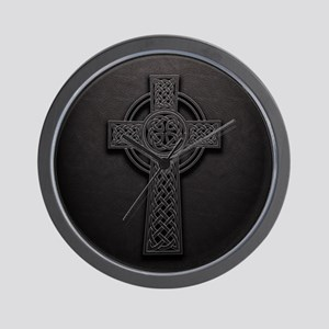 Celtic Knotwork Leather Cross Wall Clock