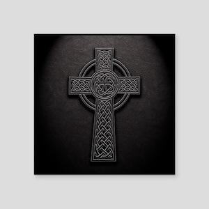 """Celtic Knotwork Leather Cro Square Sticker 3"""" x 3"""""""