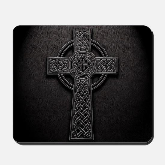Celtic Knotwork Leather Cross Mousepad