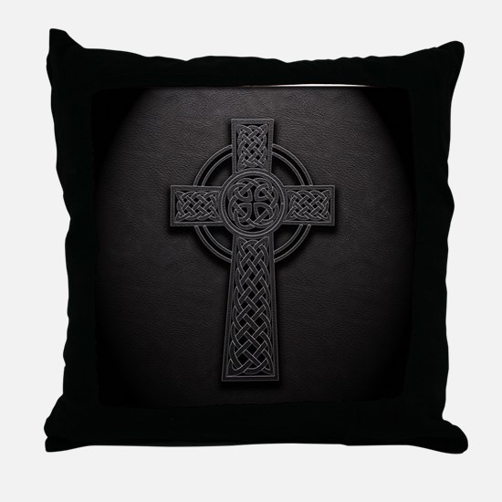 Celtic Knotwork Leather Cross Throw Pillow