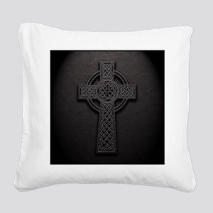 Celtic Knotwork Leather Cross Square Canvas Pillow