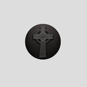 Celtic Knotwork Leather Cross Mini Button