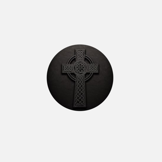 Celtic Knotwork Leather Cross Mini Button