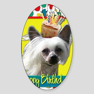 BirthdayCupcakeChineseCrestedKahlo Sticker (Oval)