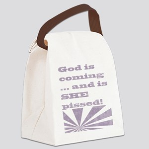 god is coming light Canvas Lunch Bag