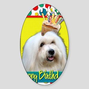BirthdayCupcakeCotondeTulear Sticker (Oval)