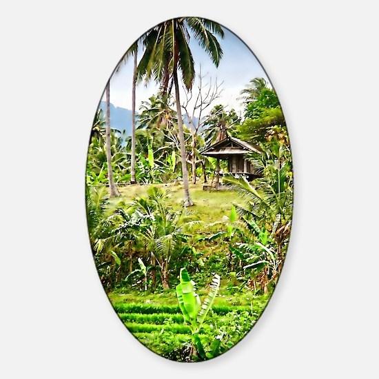 balinese farm Sticker (Oval)