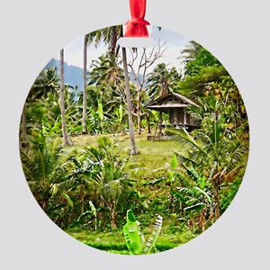balinese farm Round Ornament