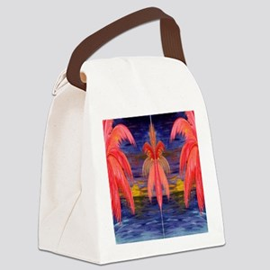 Pink Palms Canvas Lunch Bag