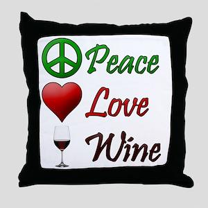PeaceLoveWine Throw Pillow