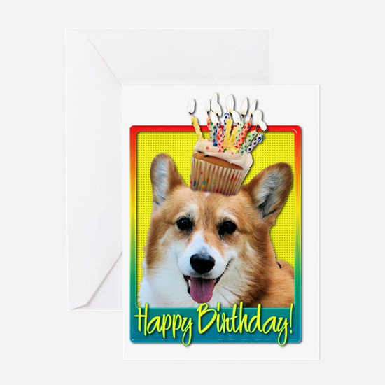 BirthdayCupcakeCorgiOwenHB Greeting Card