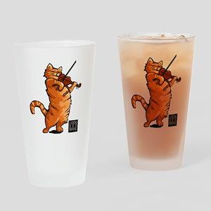 Fiddling Cat only tee shirt Drinking Glass