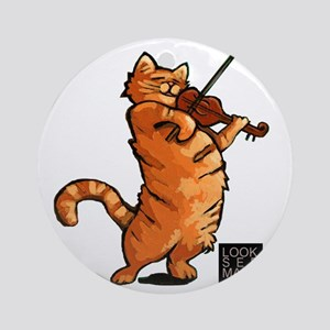 Fiddling Cat only tee shirt Round Ornament