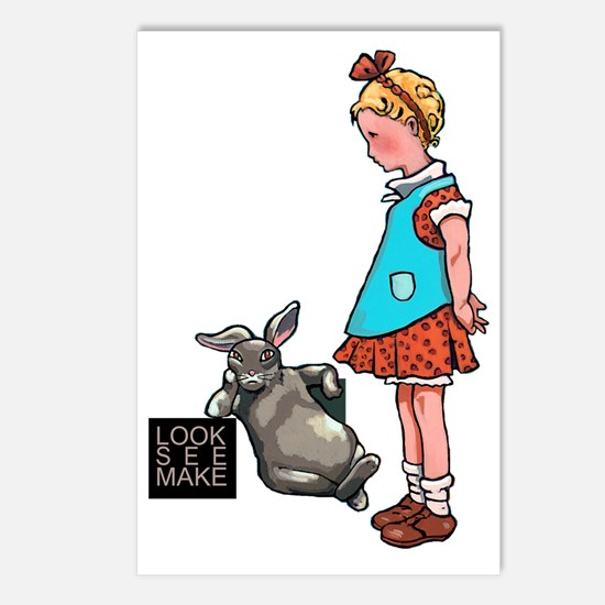 Rabbit and Girl with logo Postcards (Package of 8)
