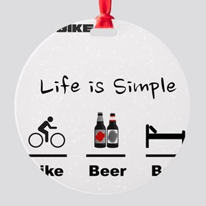 Cycling T Shirt - Life is Simple -  Round Ornament