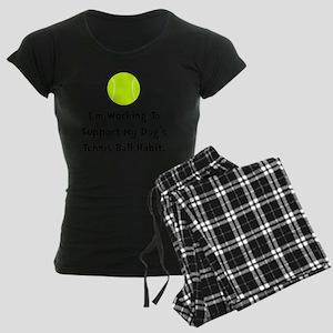 Dogs Tennis Ball Black Women's Dark Pajamas