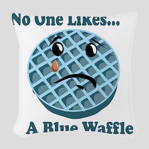 Sad Waffle Woven Throw Pillow