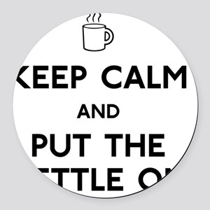 FIN-keep-calm-kettle-on Round Car Magnet
