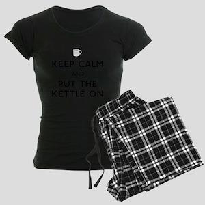 FIN-keep-calm-kettle-on-CROP Women's Dark Pajamas