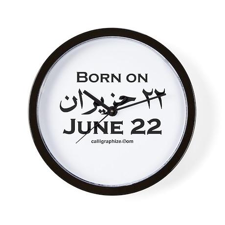 June 22 Birthday Arabic Wall Clock