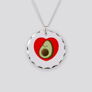 Cute Avocado In Red Heart Necklace Circle Charm
