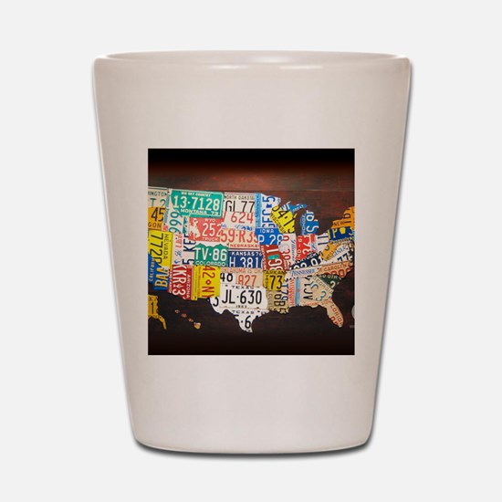 United States License Plate Map Shot Glass