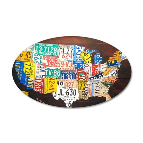 United States License Plate 35x21 Oval Wall Decal