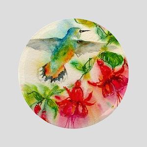 """Hummingbirds in Fuschia Garden 2 3.5"""" Button"""