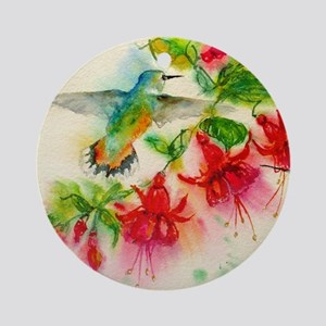 Hummingbirds in Fuschia Garden 2 Round Ornament