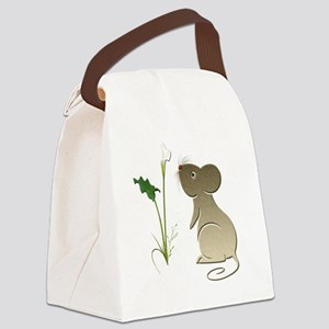 Cute mouse and lily art Canvas Lunch Bag