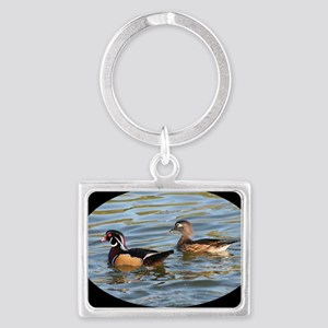 Male and Female Wood Ducks Landscape Keychain