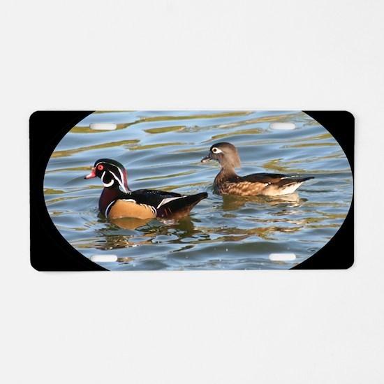 Male and Female Wood Ducks Aluminum License Plate