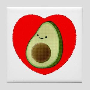 Cute Avocado In Red Heart Tile Coaster