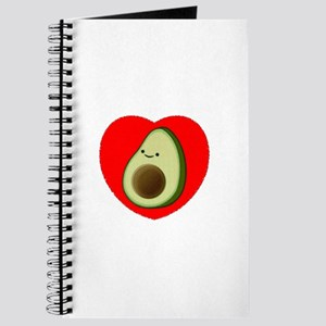 Cute Avocado In Red Heart Journal