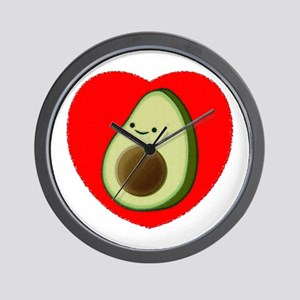 Cute Avocado In Red Heart Wall Clock