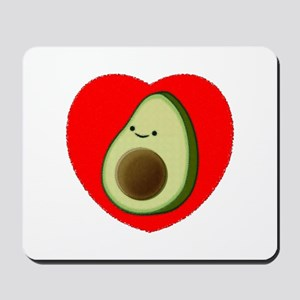Cute Avocado In Red Heart Mousepad